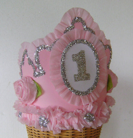 Hats - Pink Princess Crown For First Birthday