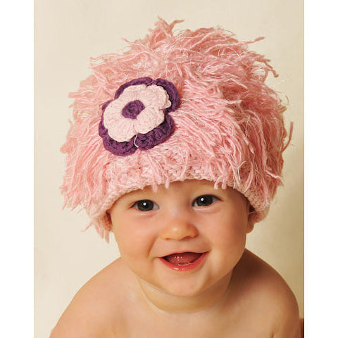 Hats - Zooni Pink Flower Power Mop Top Hat