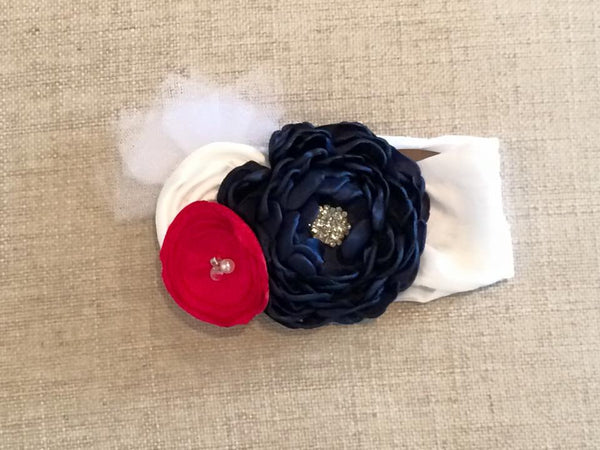 Headbands - Red White And Blue Knit Flowered Headband