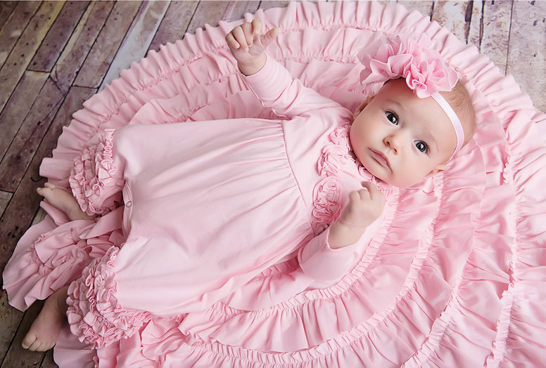 Lemon Loves Layette Olivia Romper in Rose Shadow
