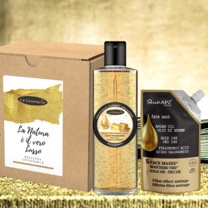 Kit home SPA wellness face & body 24k gold and hyaluronic acid