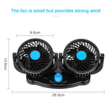 Blue 12V 24V 360 Degree All-Round Adjustable Car Auto Air Cooling Dual Head Fan Car Auto Cooler Air Fan Car Fan Accessories