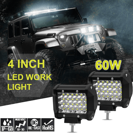 1pc 60W 4 Inch LED Work Light Strip Spotlight Off Road Driving Fog Light For Truck Ship