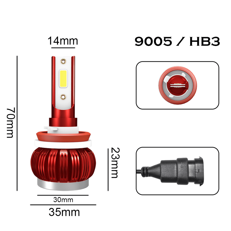 9005 / HB3 2 PCs KINGSOFE K1 LED H1 H4 H7 H11 9005 9006 Car Headlight COB Chip 6000K LED Bulb Headlight Super Bright Fog Lamps