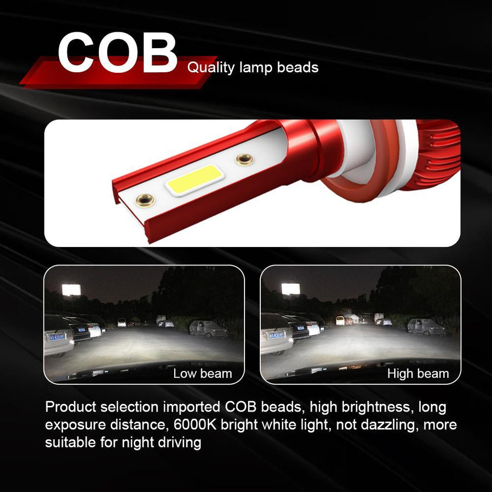 2 PCs KINGSOFE K1 LED H1 H4 H7 H11 9005 9006 Car Headlight COB Chip 6000K LED Bulb Headlight Super Bright Fog Lamps