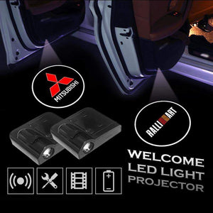 2 Pcs MITSUBISHI RALLIART Car Door Led Welcome Light Projection Lamp Door Light Laser Light Modified Car Door Light