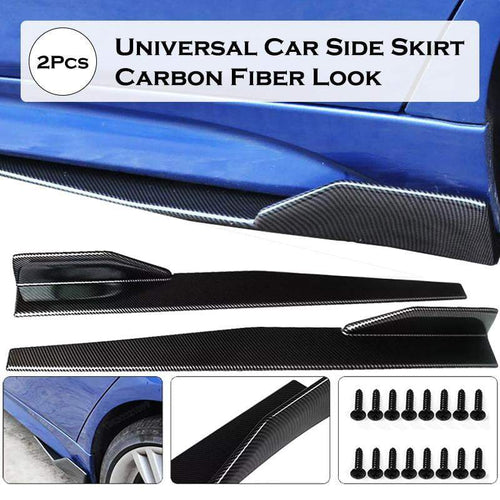 2pcs 120CM Universal Carbon Fiber Modified Car Side Skirt Rocker Splitters Diffuser Winglet Wings Bumper Protector