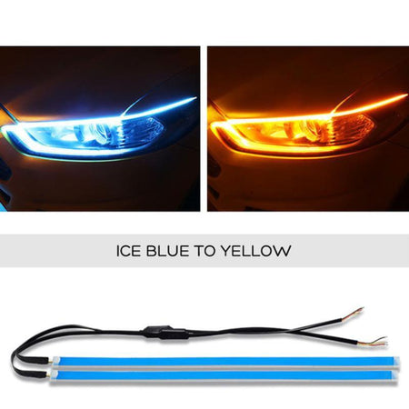 2Pcs 12V 120cm DRL Ultra Thin Flow Light Strip Flowing Light Bar Headlight Fog Lamp Daytime