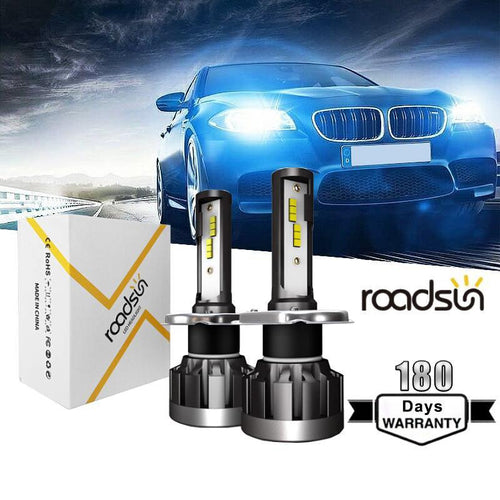 2PCS Roadsun 1901 LED H1 H4 H7 H11 9005 9006 Car Headlight CSP 6000K LED Bulbs Super Bright Lamps Fog Light