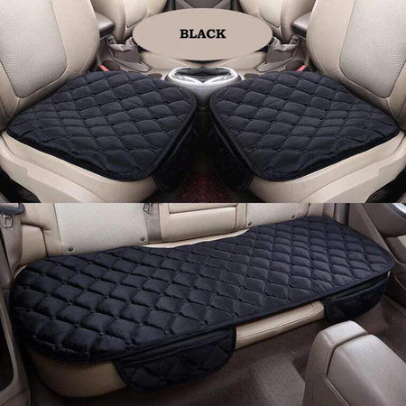 Car Seat Organizer Cushion / Black 3PCs/Set Car Seat Cushion Non-Slip Cover Kusyen Velvet Plush
