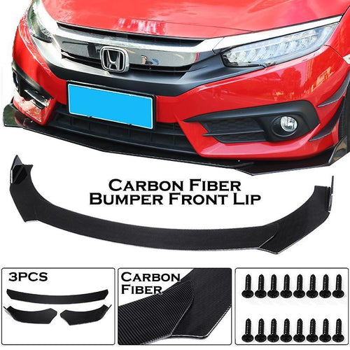 3Pcs Universal Carbon Fiber Adjustable Car Front Bumper Diffuser Lip Spoiler Body Kit