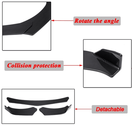 Carbon Fiber 3Pcs Universal Carbon Fiber Adjustable Car Front Bumper Diffuser Lip Spoiler Body Kit