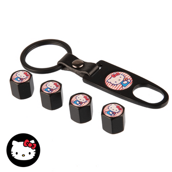Air Cap BLACK 4Pcs/Set Styling HELLO KITTY Car Wheel Tire Tyre Valve Stem Air Caps Car Cover