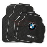 BMW White BMW Car Carpet Latex Floor Mats Foot Mats 5Pcs