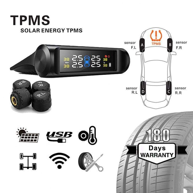 Car Charger 7 Days TPMS Color Screen Tire Pressure System Solar Wireless LED Display