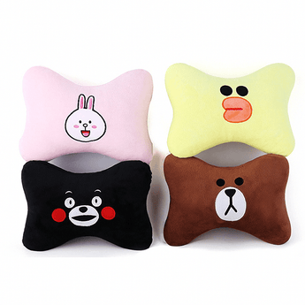 Car Pillow BROWN BEAR 1 Pair Car Headrest Cartoon Headrest Neck Pillow