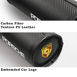 Car Pillow Porsche Car Seat Neck Pillow Carbon Fiber Texture PU Leather