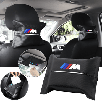 Car Seat Organizer BMW Carbon Fiber Leather Car Tissue Box Cover