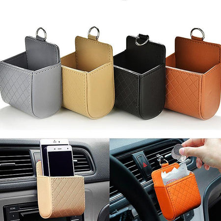 Car Seat Organizer PH-06-BLK Car Storage Box Hanging Holder Storage Bags PU Leather Pocket Organizer Car Accessories