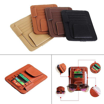 Car Seat Organizer BLACK Car Sun Visor With Card Holder Auto Anti Dazzling Tools Multifunctional Glasses Pen Clip PU Leather
