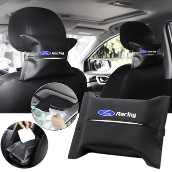 Car Seat Organizer FORD Carbon Fiber Leather Car Tissue Box Cover