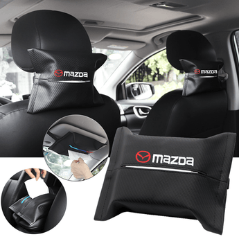 Car Seat Organizer MAZDA Carbon Fiber Leather Car Tissue Box Cover