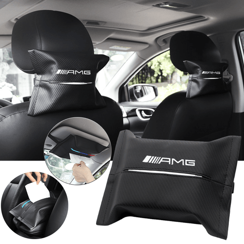 Car Seat Organizer Mercedes Benz AMG Carbon Fiber Leather Car Tissue Box Cover