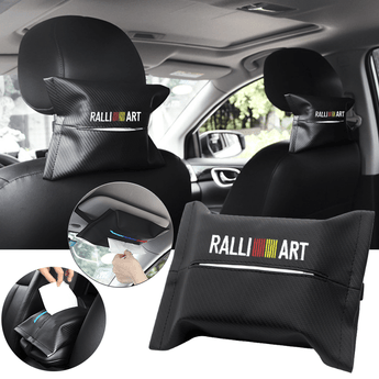 Car Seat Organizer MITSUBISHI RALLIART Carbon Fiber Leather Car Tissue Box Cover