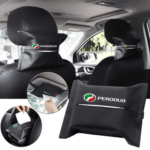 Car Seat Organizer PERODUA Carbon Fiber Leather Car Tissue Box Cover
