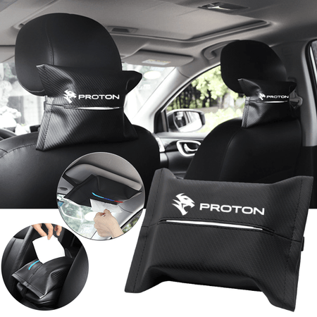 Car Seat Organizer PROTON Carbon Fiber Leather Car Tissue Box Cover