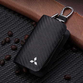 Mitsubishi Carbon Fiber MITSUBISHI Key Pouch Car Key Wallet Holder