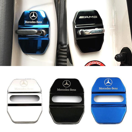 DOOR LOCK COVER BLACK 01 MERCEDES BENZ Stainless Steel Door Lock Cover Case