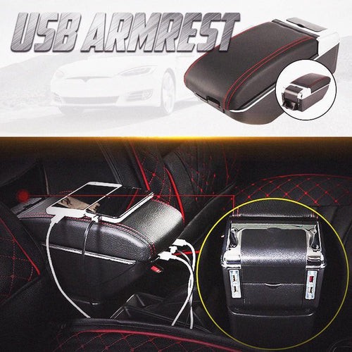 Double Layer Armrest Best Adjustable Armrest 7 Usb Ports 100% Fit No Drilling Needed