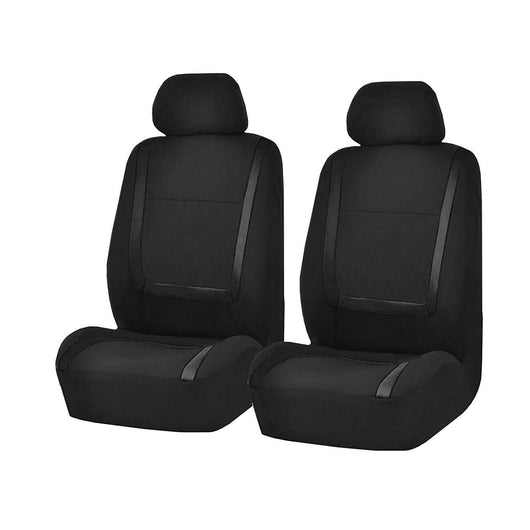 Black / Front 4Pcs Flat Cloth Fabric Front Rear Car Seat Cover
