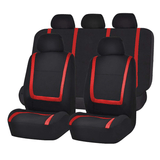 Red / Full Set 9Pcs Flat Cloth Fabric Front Rear Car Seat Cover