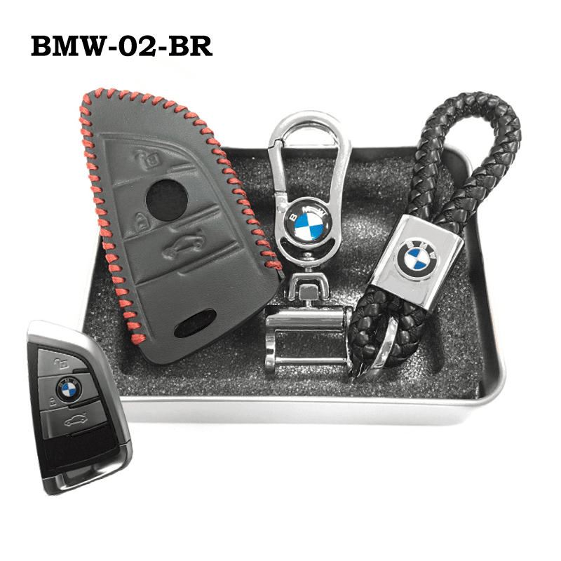 Genuine Leather Key Cover BMW-02-BR BMW Genuine Leather Key Cover