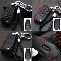 Genuine Leather Key Cover FD-01-BB Ford Flip Key Genuine Leather Key Cover Fit for Fiesta, Focus