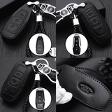 Genuine Leather Key Cover FD-02-BB Ford Smart Key Genuine Leather Key Cover Fit for Fiesta, Focus, F-Series