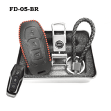 Genuine Leather Key Cover FD-05-BR Ford Smart Key Genuine Leather Key Cover Fit for Fiesta, Focus, F-Series