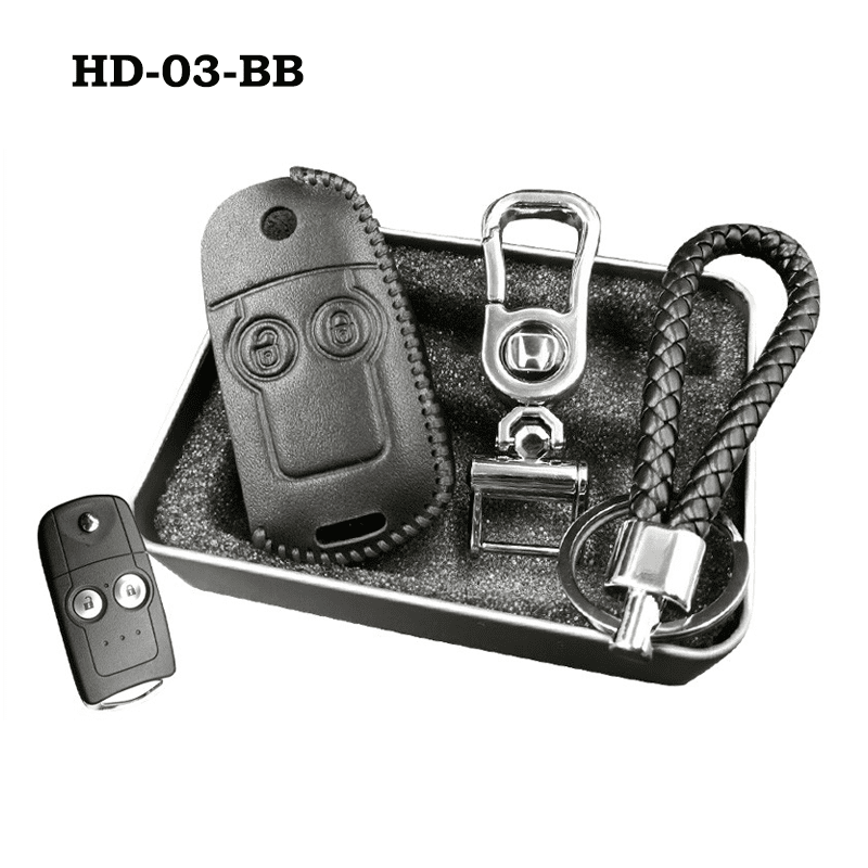 Genuine Leather Key Cover HD-03-BB Honda Flip Key Genuine Leather Key Cover Fit For Accord, Civic, XRV, Vezel, CRZ