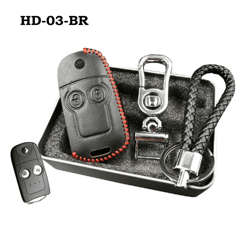 Genuine Leather Key Cover HD-03-BR Honda Flip Key Genuine Leather Key Cover Fit For Accord, Civic, XRV, Vezel, CRZ