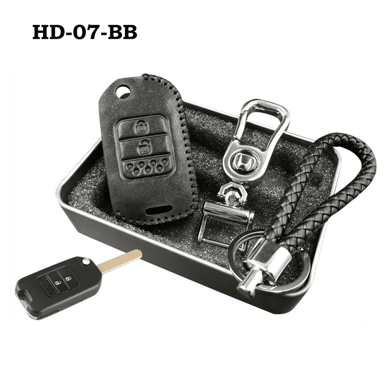Genuine Leather Key Cover HD-07-BB Honda Flip Key Genuine Leather Key Cover Fit For Accord, Civic, XRV, Vezel, CRZ
