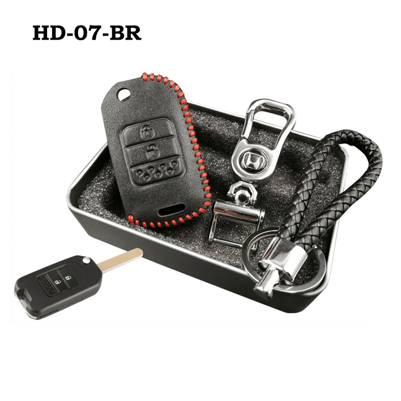 Genuine Leather Key Cover HD-07-BR Honda Flip Key Genuine Leather Key Cover Fit For Accord, Civic, XRV, Vezel, CRZ
