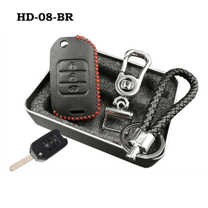 Genuine Leather Key Cover HD-08-BR Honda Flip Key Genuine Leather Key Cover Fit For Accord, Civic, XRV, Vezel, CRZ
