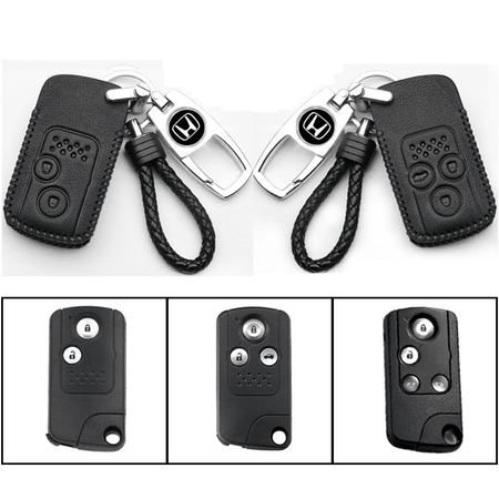 Genuine Leather Key Cover 05 BLACK Honda Smart Key Genuine Leather Key Cover Fit for Civic FB, CR-V, Odyssey