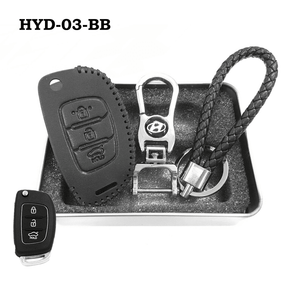 Genuine Leather Key Cover HYD-03-BB Hyundai Flip Key Genuine Leather Key Cover