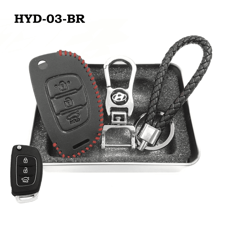 Genuine Leather Key Cover HYD-03-BR Hyundai Flip Key Genuine Leather Key Cover