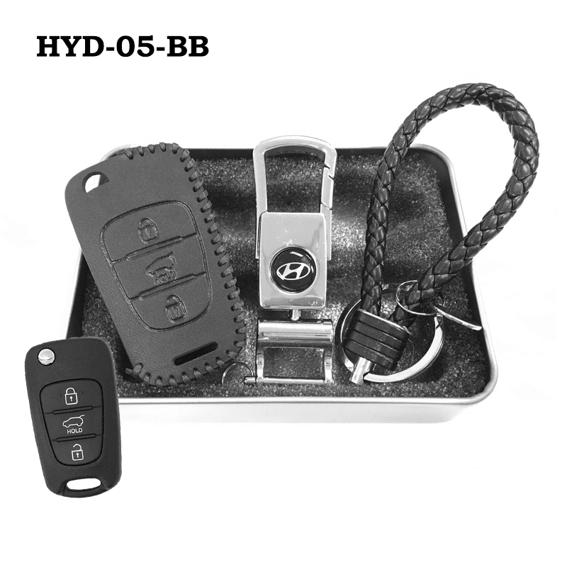 Genuine Leather Key Cover HYD-05-BB Hyundai Flip Key Genuine Leather Key Cover