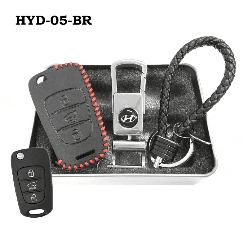 Genuine Leather Key Cover HYD-05-BR Hyundai Flip Key Genuine Leather Key Cover