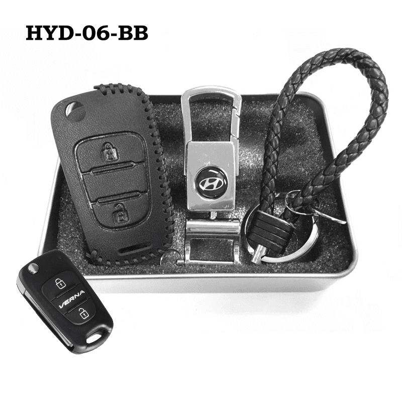 Genuine Leather Key Cover HYD-06-BB Hyundai Flip Key Genuine Leather Key Cover